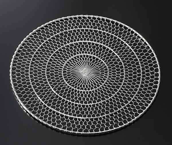 【10枚セット・2割引】ステンレス手編み目皿(ぎんす)直径20cm(足無し)