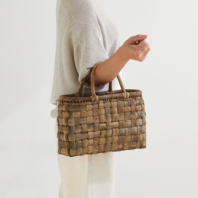 太ひごのくるみ籠 国産材 表皮 市松編み 横長 中サイズ メーカー公式ショップ 胡桃 450g 約 幅33×マチ10×本体高さ22cm 優先配送 かごバッグ