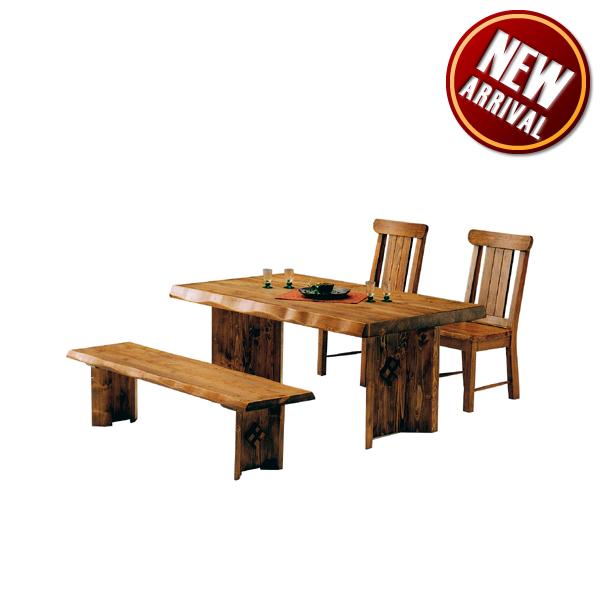 ダイニングテーブルセット ダイニングセット ダイニングテーブル x1 ダイニングチェア x2 ベンチ x1 テーブル幅150cm 4人掛け 4点セット 無垢 無垢材 パイン 浮造り 和風 モダン 食卓セット ブラウン 木製 送料無料 通販