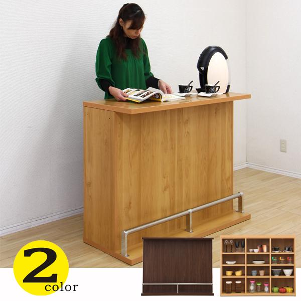 バーカウンター バーカウンター テーブル 幅115 高91 ホームバー ハイカウンター ブラウン ナチュラル 木目調 間仕切り 完成品 日本製 キッチン収納 送料無料 通販