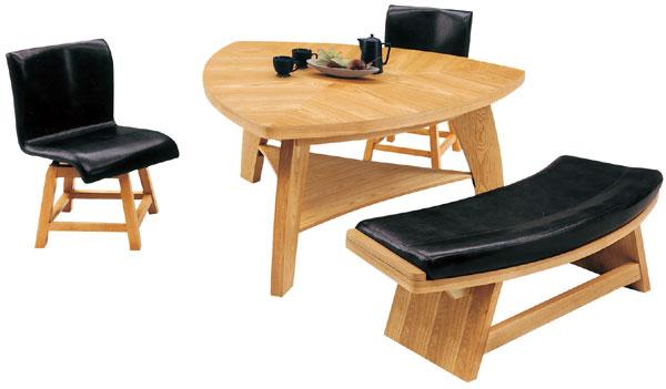 ダイニングテーブルセット 4人掛け テーブル幅135cm ダイニングテーブル x1 ダイニングチェア x2 ベンチ x1 回転チェア 4点セット デザイナーズ風 食卓テーブルセット 素材 オーク突板 アウトレット価格並 送料無料