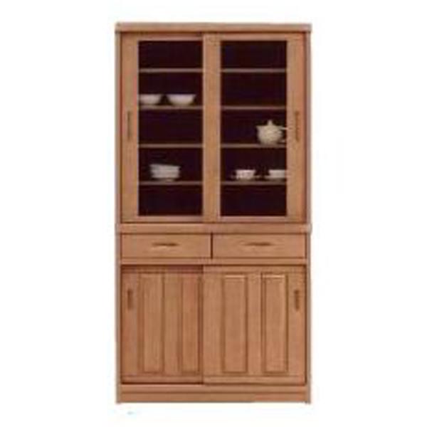 90 食器棚 キッチンボード ダイニングボード キッチン収納 キャビネット カップボード 木製 国産 完成品 引き戸 ナチュラル 北欧