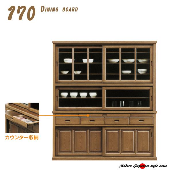 出産祝い 食器棚 ダイニングボード キッチンボード 幅170 キッチン収納 食器収納 キャビネット カップボード 木製 和風 完成品, G-CLUB 445a51b8