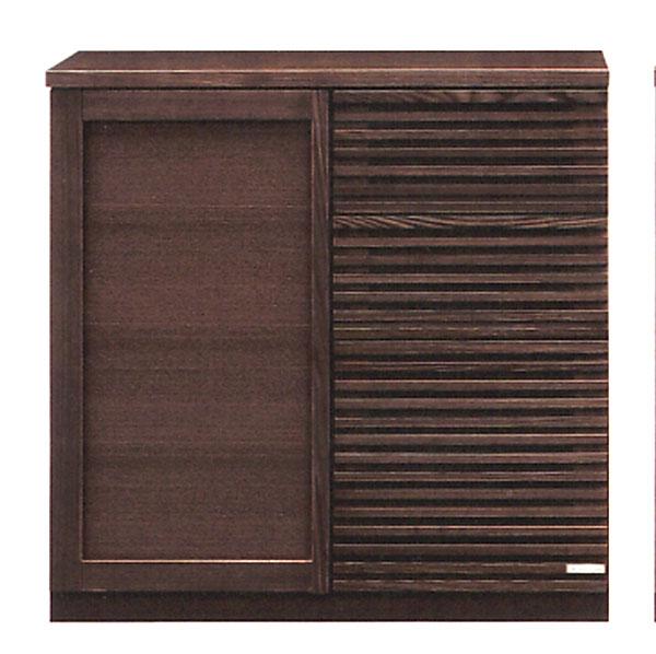 90 カウンター キッチン収納 キャビネット キッチンカウンター 台所収納 レンジ台 木製 国産 完成品 ダークブラウン 北欧