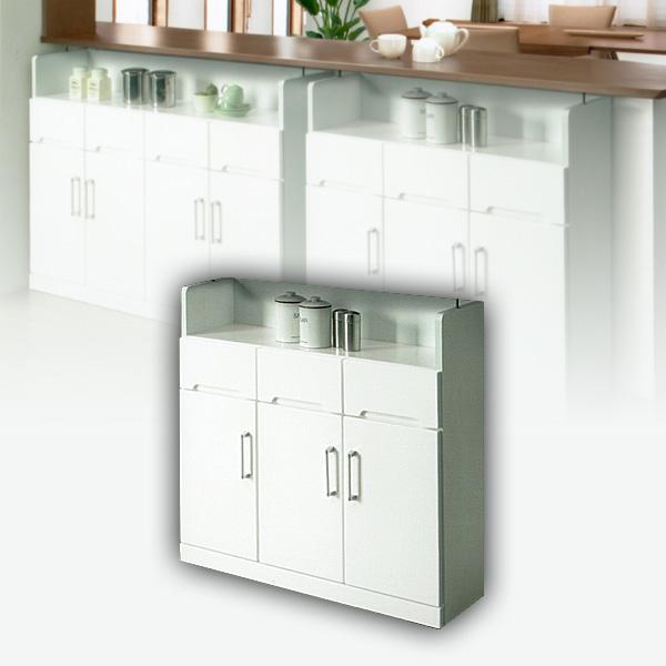 90 カウンター下収納庫 キッチン収納 ホワイト 白 すき間収納 隙間収納 カップボード 北欧