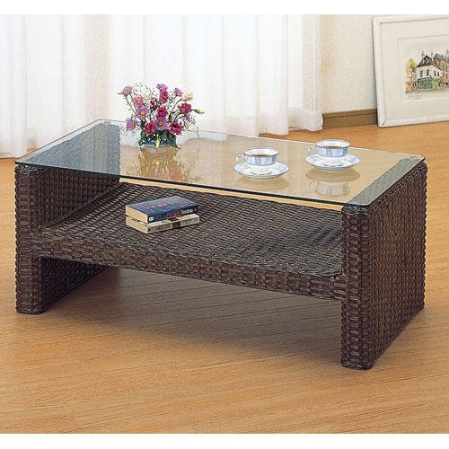 Rattan Table Glass Table Tempered Glass Top Plate W104 IMT111B (rattan /  Imaeda Store Made ...
