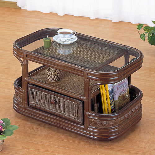 Rattan Table Glass Table Reinforced Glass Top W75 IMT501B (branches / Rattan  Table / W / Center Table / Living Table / Coffee / Cafe Table / Desk / Desk  ...