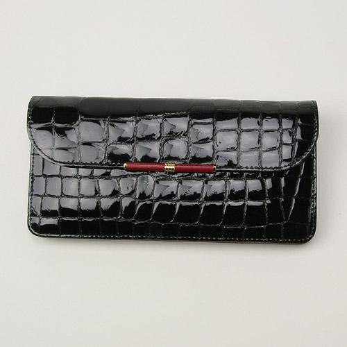 【送料無料】【smtb-TD】【tohoku】【財布】エナメルクロコ 束入 ブラック