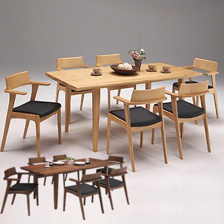 ダイニングテーブルセット ダイニングテーブル 幅190 無垢 木製 6人掛け 北欧 おしゃれ ダイニングテーブルとチェア6脚セット 7点セット 食卓テーブル ダイニングチェア/ ダイニング7点 glory(グローリー)