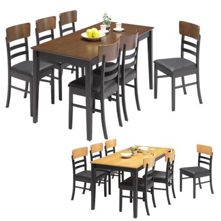 [ポイント5倍 3/21 20:00~3/28 1:59]ダイニングテーブルセット ダイニングテーブル 幅165 シンプル 木製 6人掛け 食卓 おしゃれ ダイニングテーブルとチェア6脚セット 7点セット 食卓テーブル ダイニングチェア/ ダイニング7点 プリナ