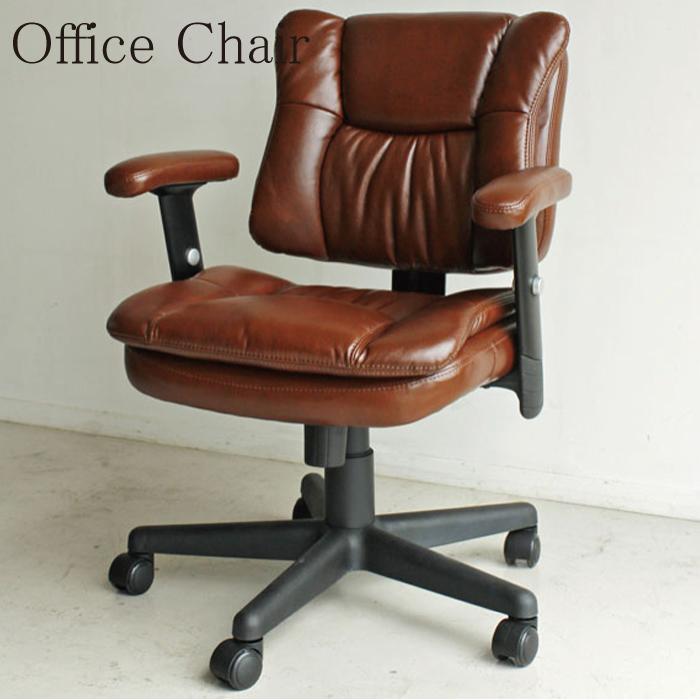 チェアー 幅65 オフィス チェア 椅子 ブラウン ソフトレザー 幅65cm レトロ アンティーク風 アンティークレザー 高機能