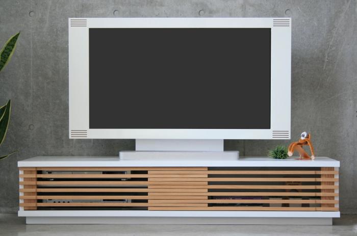 開梱設置配送 テレビ台 格子戸 幅150 北欧 完成品 白 ナチュラル 木製 リビング テレビボード スライド 扉 ローボード 収納 オシャレ 家具 通販 国産 150cm