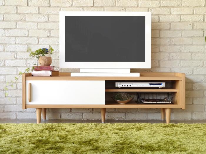 ローボード 幅135 おしゃれ 北欧 ポップ かわいい カワイイ 可愛い テレビボード テレビ台 カジュアル 木製 ホワイト 日本製 国産 大川家具