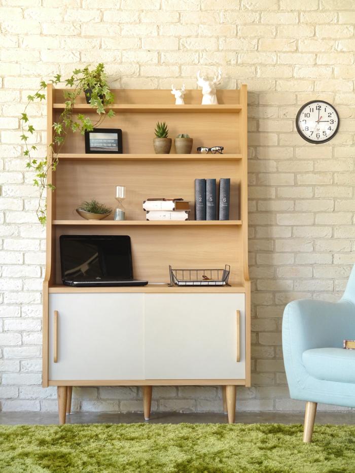フリーボード 幅100 おしゃれ 北欧 ポップ 木製 家具 テレビ台 テレビボード シェルフ ブックシェルフ 書棚 かわいい 可愛い カワイイ 日本製 国産 大川家具