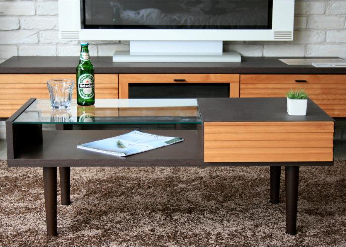 テーブル 幅100 北欧 モダン ブラウン 木製 リビング テーブル ガラス 天板 引き出し ワンポイント オシャレ ロー 収納 家具 通販 国産 100cm