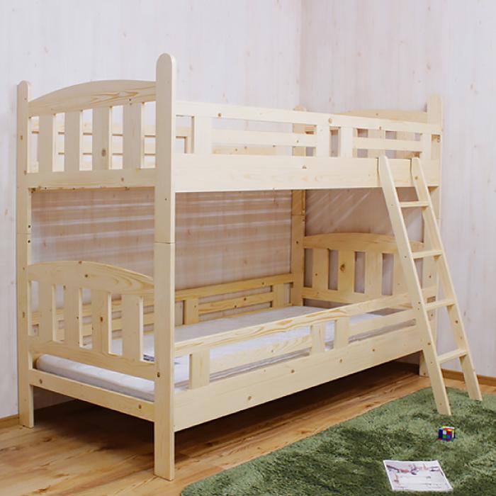 2段ベッド 二段ベッド シングルサイズ 木製 シングルベッド すのこベッド スノコベッド 子どもベッド 子供ベッド シンプル シングルベッド パイン材 省スペース フラットタイプ 上下段連結金具付き ナチュラル