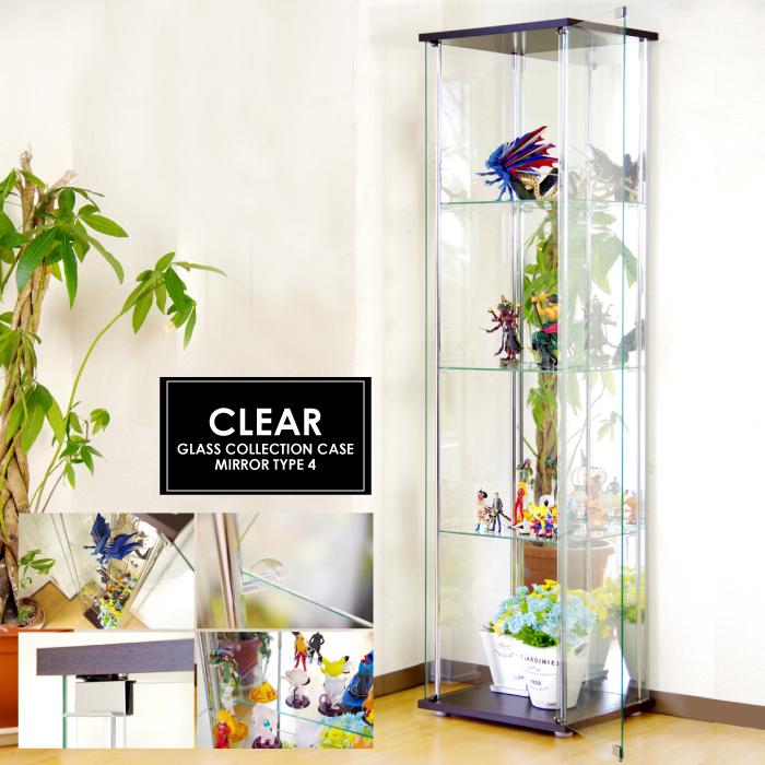 ガラスコレクションケース 4段 背面ミラー仕様 スリム&ハイタイプ ガラスコレクションボード 幅42.5cm×高160cm 棚板強化ガラス 吸盤式棚ダボ付き コレクションラック ディスプレイラック キュリオケース ショーケース コレクションケース 飾り棚 ガラスケース