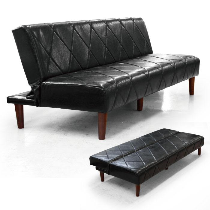 ソファベッド ソファーベッド 合皮 3段階リクライニング 合成皮革 カジュアルデザイン 3人掛けソファ 3Pソファ 2人掛けソファ 2Pソファ リクライニングソファ 2~3人用 リビングソファ ソファー ブラック