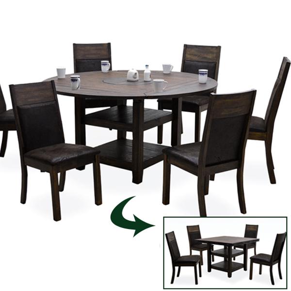 ダイニングテーブルセット 7点 丸テーブル 幅100 148 ヴィンテージ風 流木風 無垢 天然木 円卓 ラバーウッド 高さ調節 変形テーブル ハイテーブル アジアン 6人掛け カフェ風 モダン おしゃれ