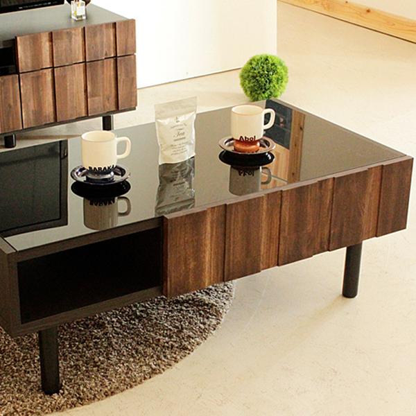 テーブル 幅105cm リビングテーブル センターテーブル ローテーブル アカシア ヴィンテージ風 古木風 コーヒーテーブル 木製テーブル フロアテーブル デザインテーブル 収納付 おしゃれ