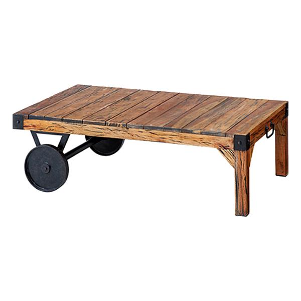 テーブル ローテーブル 幅105cm インダストリアル アイアン 天然木 ヴィンテージ風 センターテーブル 車輪付き アメリカンビンテージ 古木風 カフェ 西海岸 サーファー