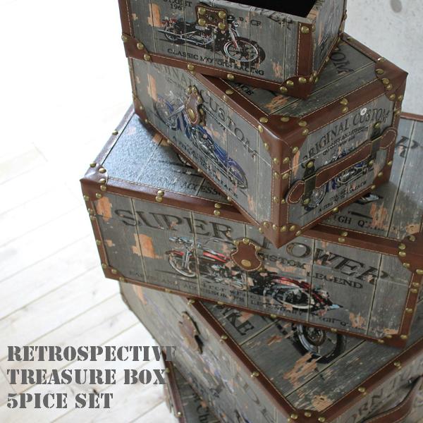 収納BOX 宝箱 トレジャーボックス 5点セット アメリカン ヴィンテージ風 バイク柄 custom machines 入れ子式 5個セット レトロアメリカン ウッドボックス インテリアボックス CD収納 DVD収納 ガレージファニチャー 雑貨