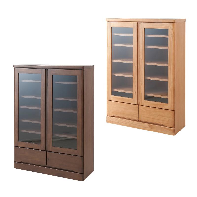 本棚 天然木パイン材 高級書棚 幅80ロータイプ ブラウン色