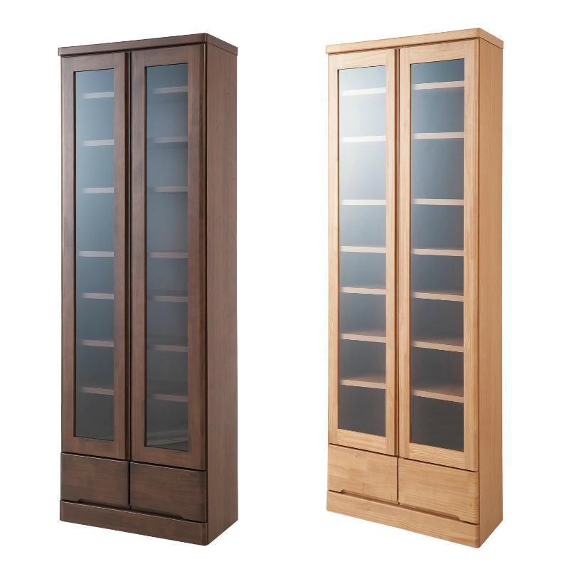本棚 書棚 天然木 パイン材 高級書棚 幅60 ハイタイプ ブラウン色
