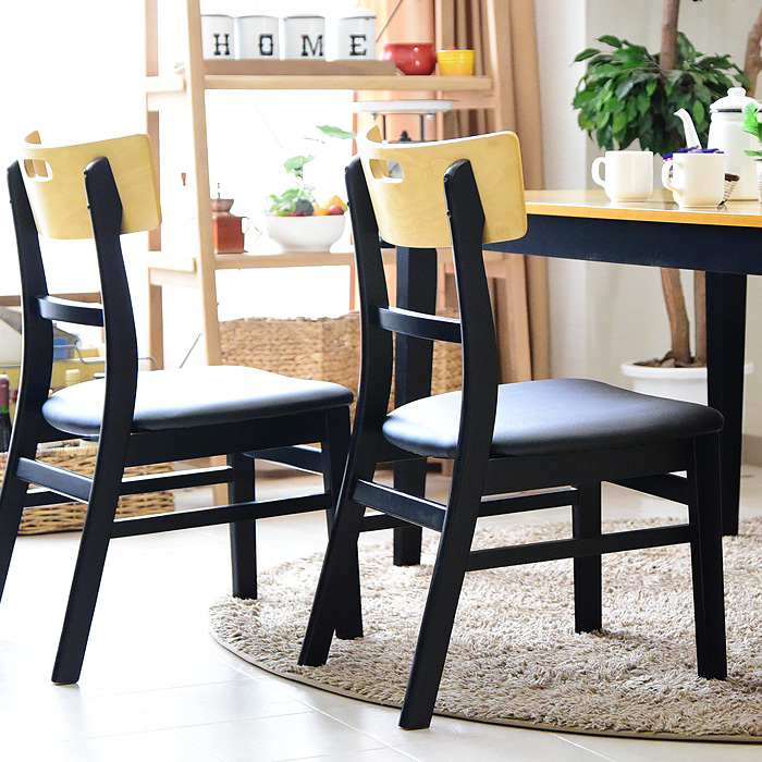 ダイニングチェアー チェアー 椅子 PVC ブラック 合皮 シンプル カントリー ホワイト 1人掛け 2トーン