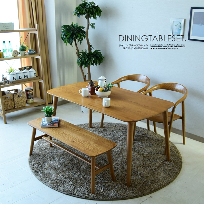 ダイニングテーブルセット 4点セット 幅140 4人掛け ダイニングテーブル4点セット 食卓セット 無垢 アッシュ 木製 シンプル ダイニングテーブル ダイニングチェアー 椅子