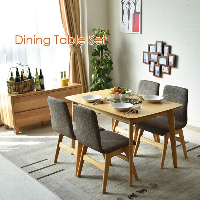 ダイニングテーブルセット 幅120 5点セット 木製 オーク 4人掛け 4人用 カフェスタイル 北欧 おしゃれ 無垢椅子 ダイニングチェアー 食卓セット