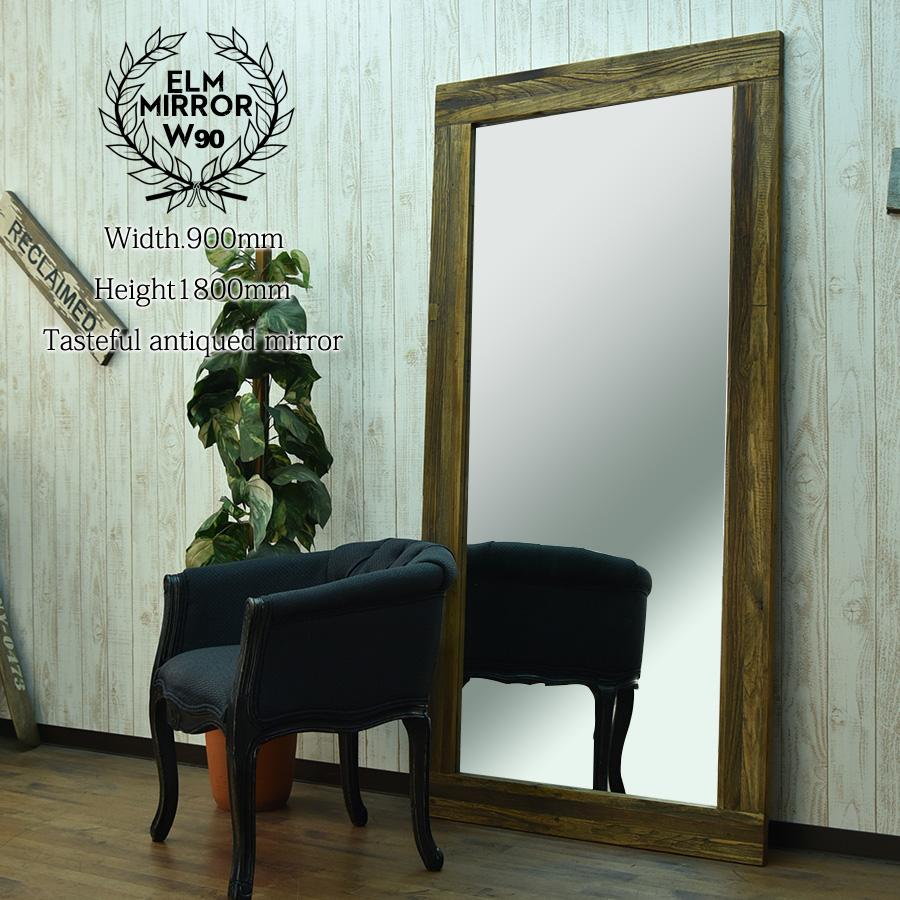 ミラー 姿身 鏡 木製 幅90 アンティークテイスト 立てかけ レトロモダン 壁掛けミラー