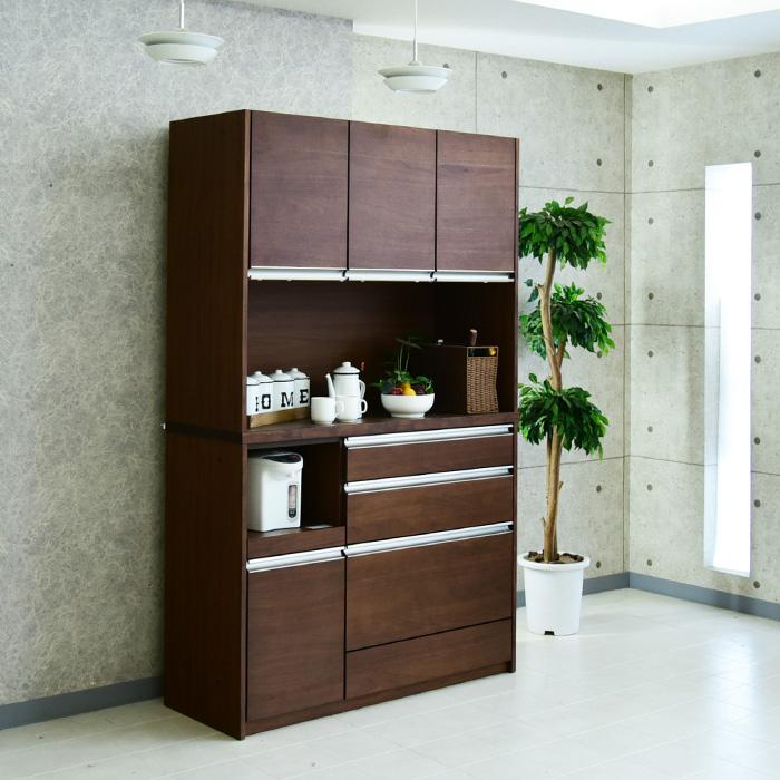食器棚 幅120 完成品 ウォールナット レンジ台 オープンボード キッチンボード キッチン収納 モイス モダン 木製 家具 モダン 高級家具
