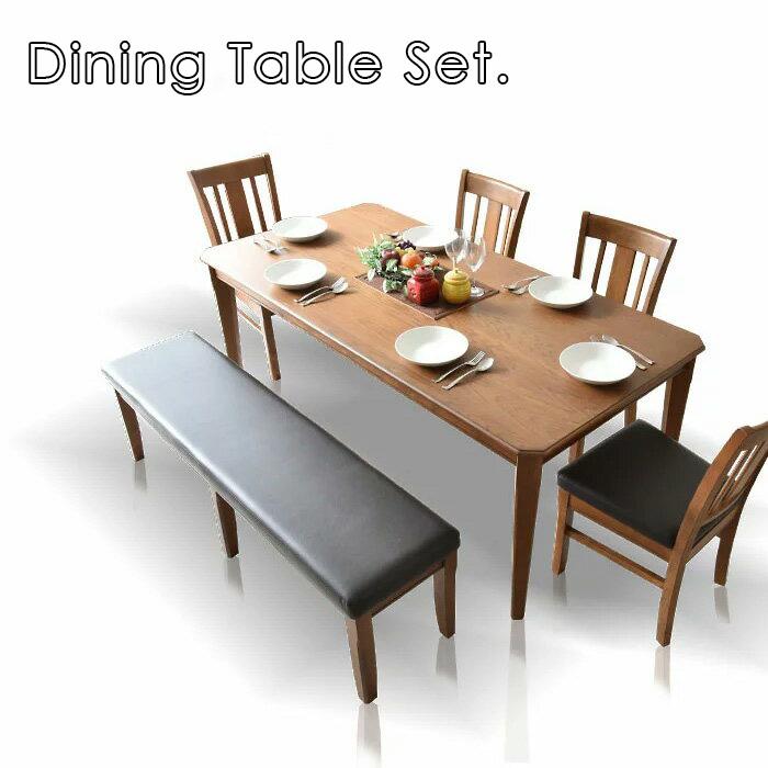 ダイニングテーブルセット 180cm ダイニングセット ダイニング6点セット 6人掛け ダイニングチェア ダイニングテーブル 食卓 食卓セット テーブル チェア 椅子 イス シンプル レトロテイスト 板座面 PVC座面