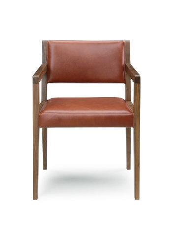 天然木ウォールナット無垢材本革張りアームチェアーセラウッド塗装ダイニングチェアー皮張りGREENシリーズ岩倉榮利氏デザイン食卓椅子・木製・肘掛椅子有り