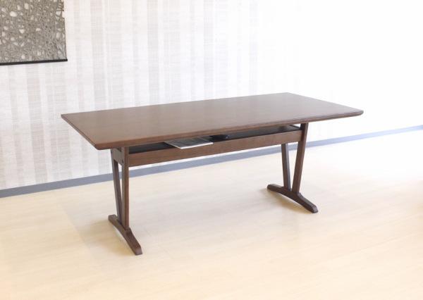天然木タモ無垢材使用ダイニングテーブル食卓テーブル収納棚付きW165cmサイズ・ナチュラル色ブラウン色木製低重心設計のシンプルでスッキリとしたモダンデザイン