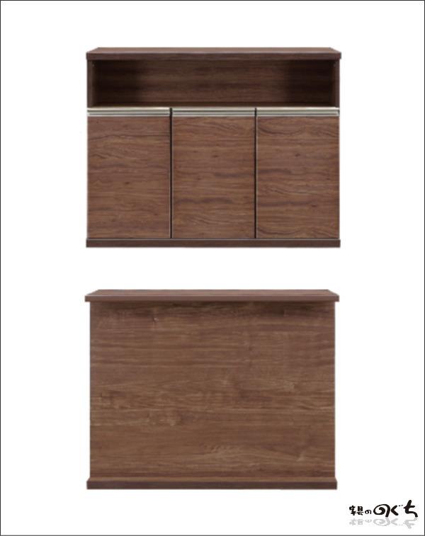 天然木ウォールナット使用のキッチンカウンター120cm天然木突き板 メラミン化粧合板 ハイカウンター木製バーカウンター送料無料 作業台 間仕切り95cm高
