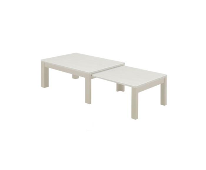 天然木タモ材木目調の伸長式エクステンションテーブルセンターテーブル・座卓・長方形・木製脚UV塗装仕上げ天然木タモ突板 ホワイト90x60