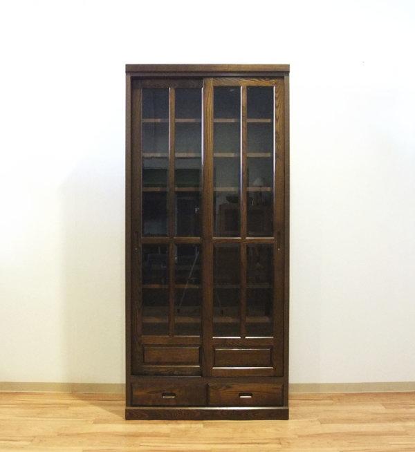 【送料無料】天然木タモ材使用の和風モダンな書棚・本棚フリーボード食器棚スライド開閉式扉幅90cm高さ180cm国産・日本製・引き出し付き135cm幅¥79,900もあります