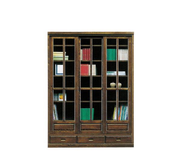 【送料無料】天然木タモ材使用の和風モダン書棚・本棚フリーボード食器棚スライド開閉式幅135cm高さ180cm国産・日本製・引き出し付き90cm幅¥65,000もあります