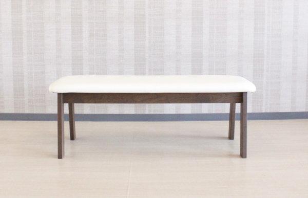 天然木タモ無垢材フレームのダイニングベンチチェアー貼り地カスタムオーダーできます木製椅子ソフトレザー国産・日本製・北欧モダン・食卓椅子・2人掛けベンチソファー