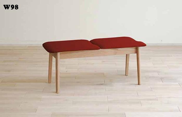 天然木レッドオーク無垢材フレームダイニングベンチ貼り地カスタムオーダーできます木製椅子ソフトレザー国産・日本製・北欧モダン・食卓椅子・布張りエコ仕様