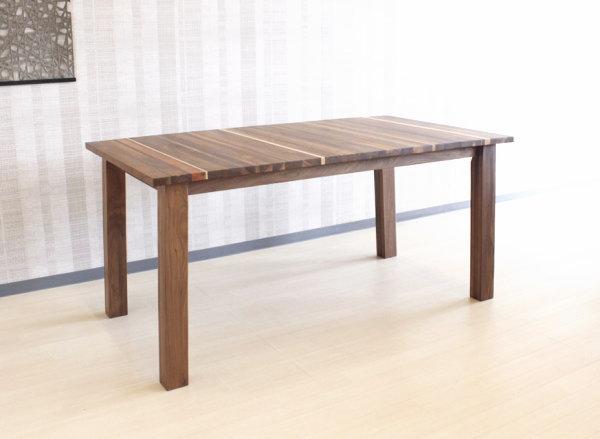 天然木ウォールナット・ブラックチェリー・ハードメープル無垢材をミックス貼り世界に一つだけのダイニングテーブル4本脚・日本製・国産・レグナテック120~180cm10cm刻み