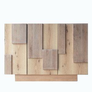 天然木オーク無垢材使用の古材風仕上げサイドボード個性的なアンティーク風加工仕上げ国産・日本製・木製チョークウッド・シリーズ商品120cmキャビネット