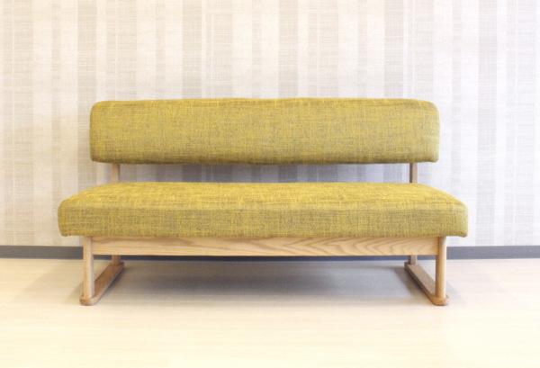 天然木レッドオーク無垢材フレーム+ファブリック布張り背もたれ付きベンチソファーベンチチェアー2人掛けソファ北欧モダンデザインの木製ソファsofa・国産・日本製LDオーダーメイド・カスタムオーダー・ウォールナット材もあります木部塗装色