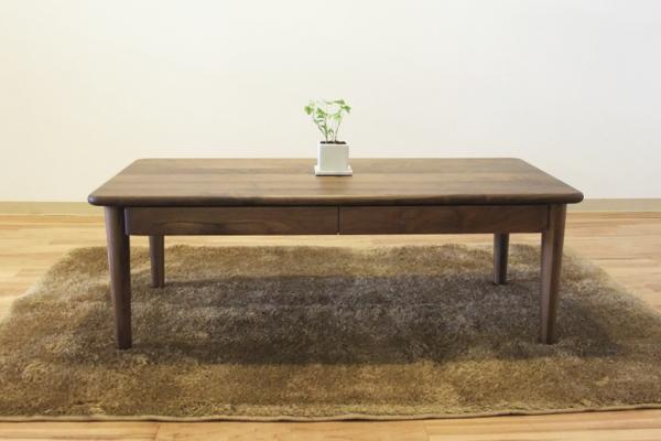 【送料無料】天然木ウォールナット無垢材のテーブルナラ・オーク材あり・植物性オイル塗装100cm~180cm国産引出し付・アジャスター付・日本製