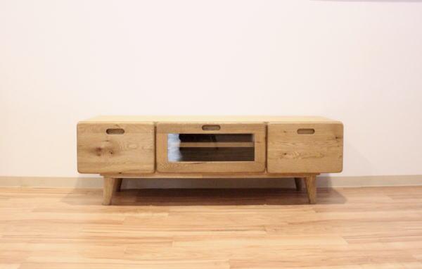 天然木ナラ・オーク無垢材&突き板仕上げテレビボード角を丸くしたやさしいデザイン・オイル塗装仕上げ120cm150cm2タイプありますテーパー脚・完成品