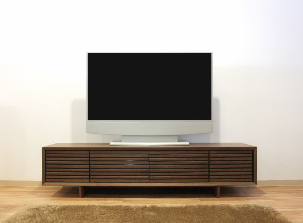 【送料無料】天然木ウォールナット材使用のテレビボード143cm・180cm木製・ウォールナット突き板材ゲーム機収納木製ボーダー格子デザイン・脚付き・プッシュオープンお買い得なインポート限定商品フルオープンスライドレール