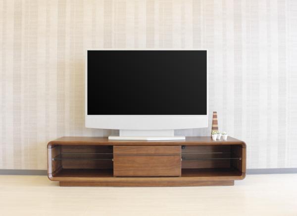 天然木ウォールナット無垢材・突き板使用のテレビ台巾155cm・175cm木製R加工デザイン強化ガラス棚インポートお買い得商品引出し付ききれいな仕上げ