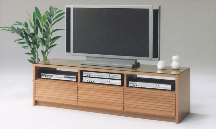 送料込 テレビボード ローボード 人気の北欧風デザイン 前板の凸凹形状が好評ですよ♪ AV機器も3台収納可能、引出しも収納充分の大満足♪ 幅160cm 上質なアルダー無垢材テレビボード